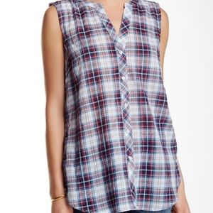 Sandra Ingrish sleeveless plaid button down shirt